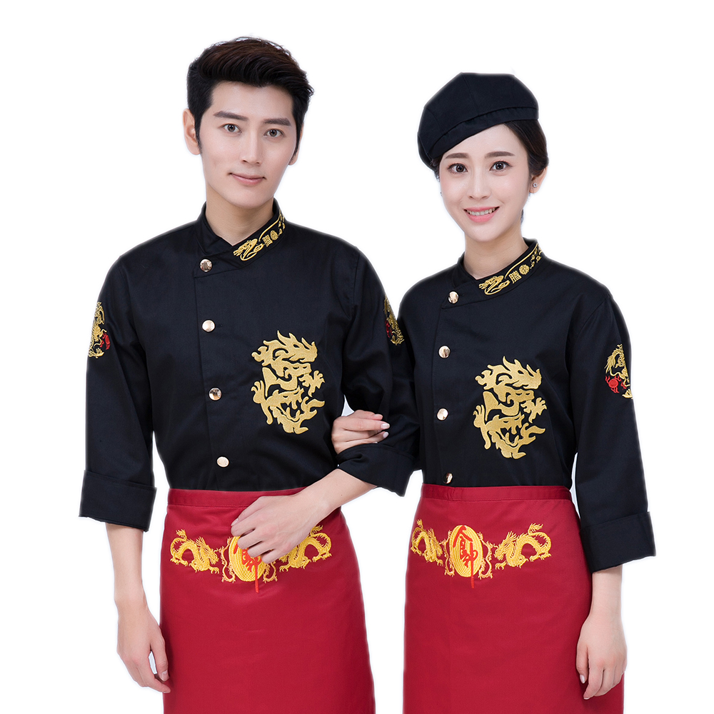 Classical 3 Cloor Long Sleeve Professional Chefs Uniform Full Sleeve Hotel Restaurant Kitchen Chef Jacket Man