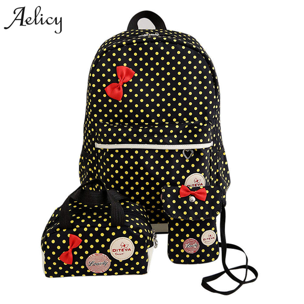 Aelicy School-Bags Backpack-Set Mochila Knapsack Shoulder Teenager Girl Women Bow
