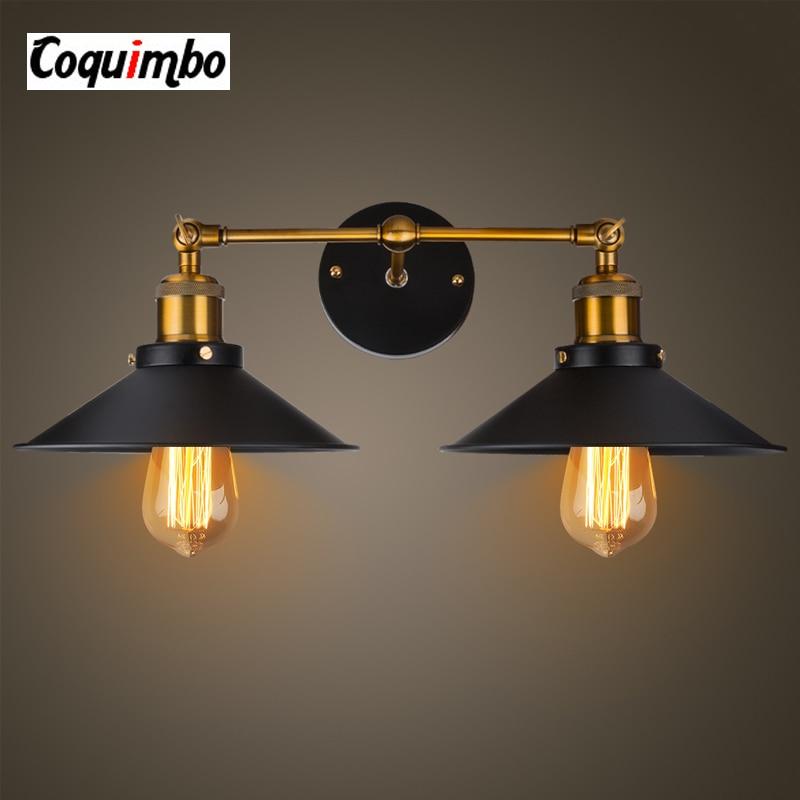 2 Heads Retro Vintage Wall Lamp Iron Bedside Lamp Metal Rustic Loft Wall Lights Home Lighting