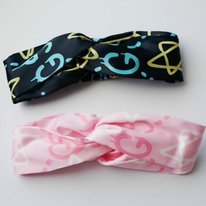 lyxig satin Kvinnor elastiska hårband Bohemian brev Turban Twisted - Kläder tillbehör - Foto 1