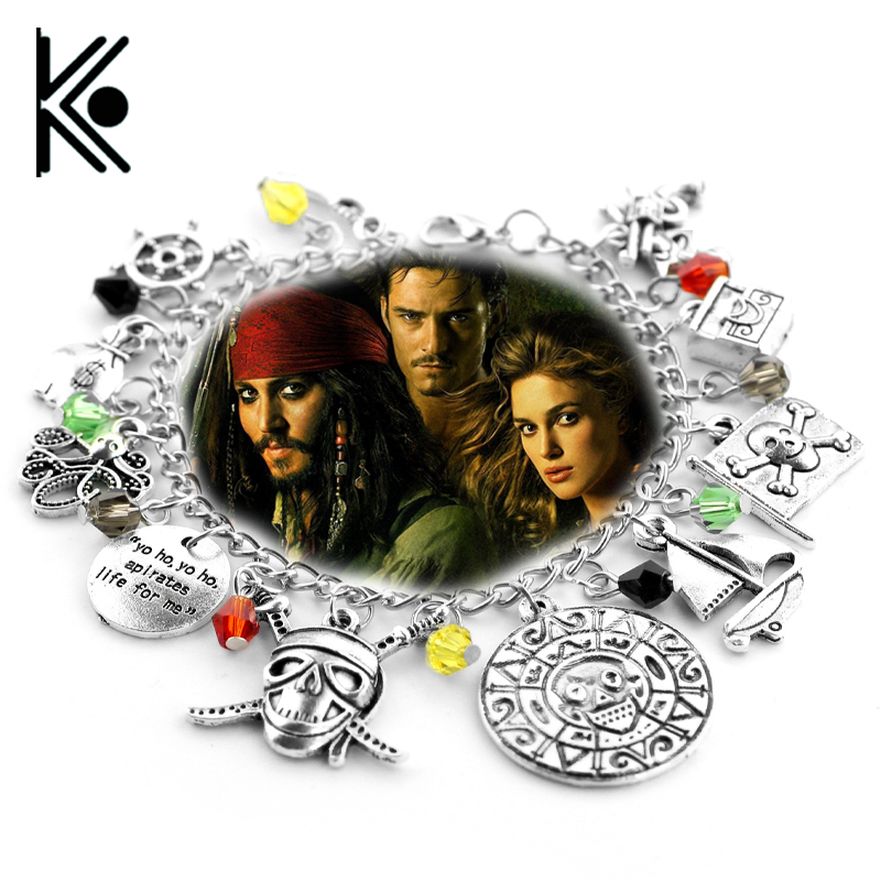 Pirates Of The Caribbean Bracelet Jack Sparrow Aztec Coin Medallion Skull Rudder Steering Wheel Accessories Bangle