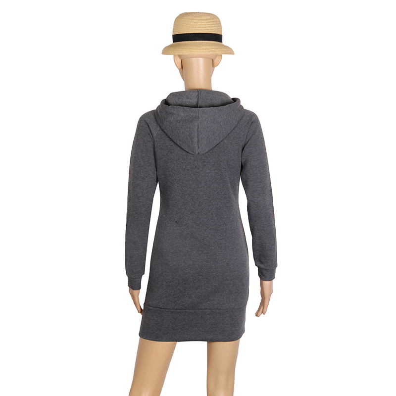Warm Winter High Quality Hooded Dresses Pocket Long Sleeved Casual Mini Dress Sportwear Women Clothings LX130 4