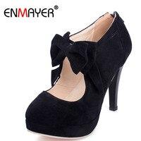 ENMAYER High Heels 3 Colors Classic Black Shoes Woman Bowtie Charms Spring and Autumn Platform Round Toe Pumps Party