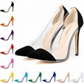 New Style Women Candy High Heels Pointed Toe Sexy Ladies Shoes Eourpean Princess Women Party Shoes Stiletto Flock Girl Heels 76