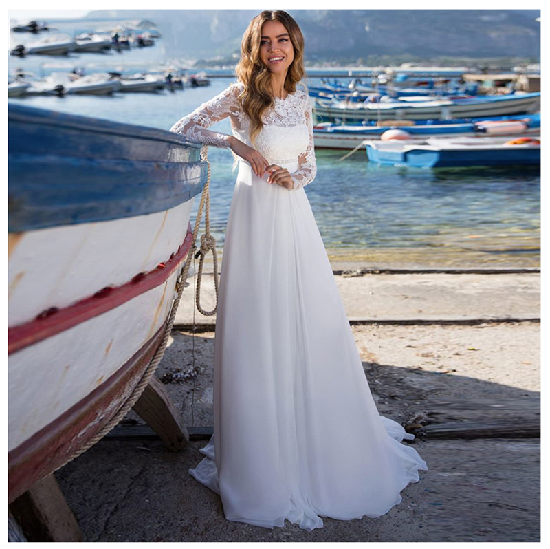 LORIE Wedding Dress Lace Boho Long Sleeves White Beach Wedding Dress Appliques Lace O Neck Princess Bride Dress Free Shipping