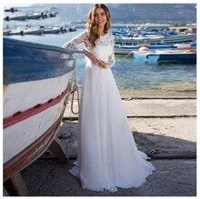 LORIE Wedding Dress Lace Boho Long Sleeves White Beach Appliques O Neck Princess Bride Free Shipping