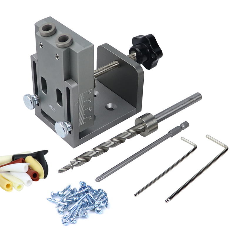 Pocket Hole Jig Kit Locator With Gripper 9mm Drill Bit Wood Doweling Jig Hole Puncher For Angle Drill Guide Woodworking Tools