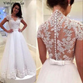 YiWuMenSa Vestido De Noiva Alibaba Bridal Gowns A Line Lace Sexy Backless Wedding Dresses Vintage Tulle Civil Wedding Dresses