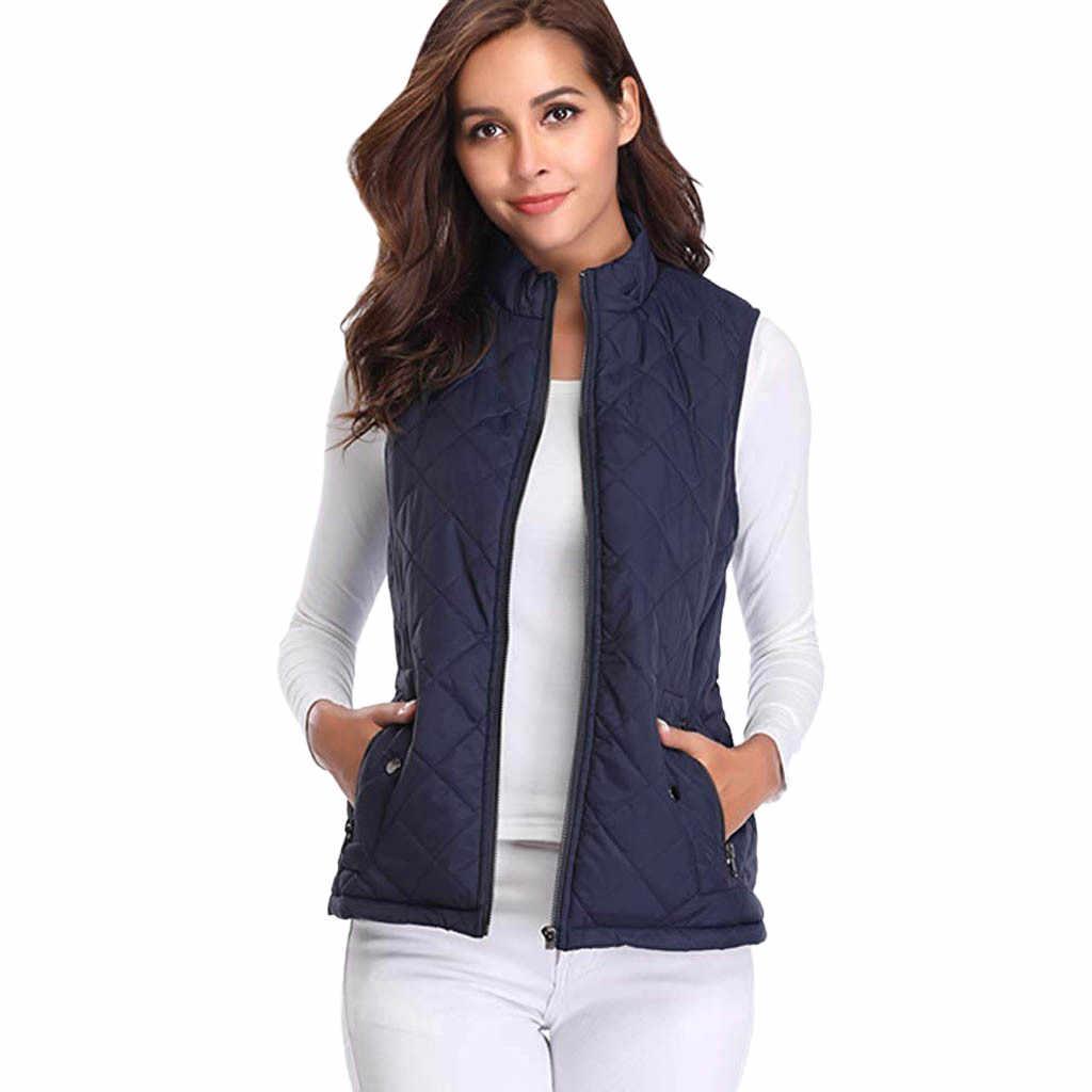 2019 ฤดูหนาวหญิง WOMENS PLUS ขนาด S-XL เสื้อแจ็คเก็ต WARM Waistcoat ฤดูใบไม้ร่วงน้ำหนักเบาสีดำเป็ดลงเสื้อผู้หญิง