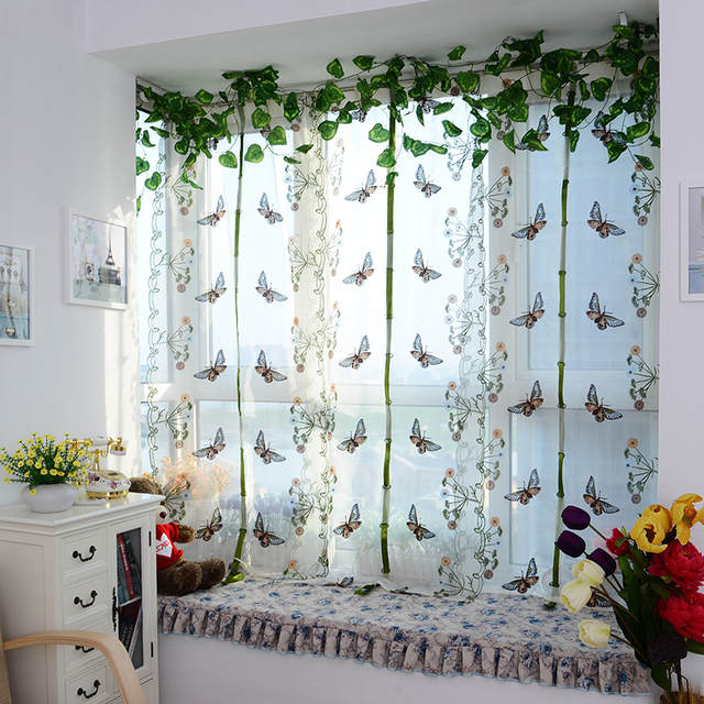Us 6 63 22 Off Top Finel Erfly Tulle For Window Roman Shades Curtain Blinds Embroidered Sheer Curtains Kitchen Living Room Panel In