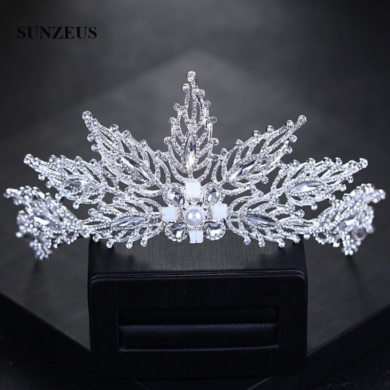 Pearls Crystal Beaded Stunning Tiaras And Crown For Bridal Wedding Hair Accessories Princess Pageant Party Hair Decoration SHA11