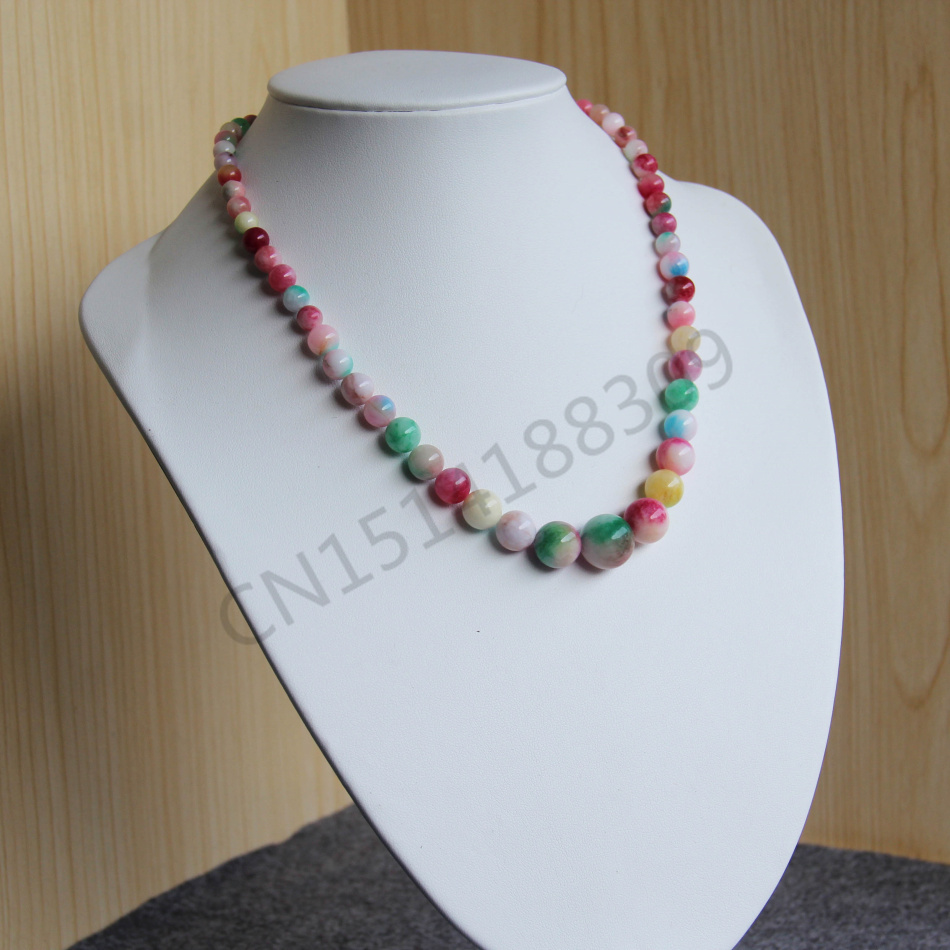 Accessory Crafts Parts Necklace 6-14mm Pink&Green Beads Necklace Women Girls Bead 18inch Jewelry Making Design Wholesale Fitting