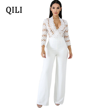 QILI Long Sleeve Hollow Out Jumpsuits Women Overall Wide Leg Patchwork White Lace Jumpsuit Sexy V neck See Through Club