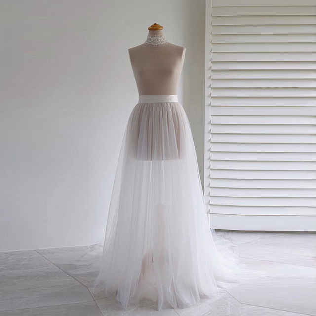 WDPL Fashion Bridal Tulle Skirt Overlay See Through Floor Length Tulle  Train Skirt Custom Made Sheer Wedding Overskirt Tutu ff4db993c61c