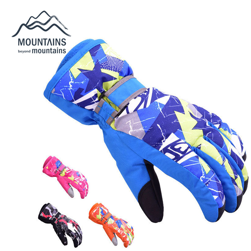 Children Winter Warm Ski Gloves Boys/Girls Sports Waterproof Windproof Snow Mittens Extended Wrist Skiing Gloves