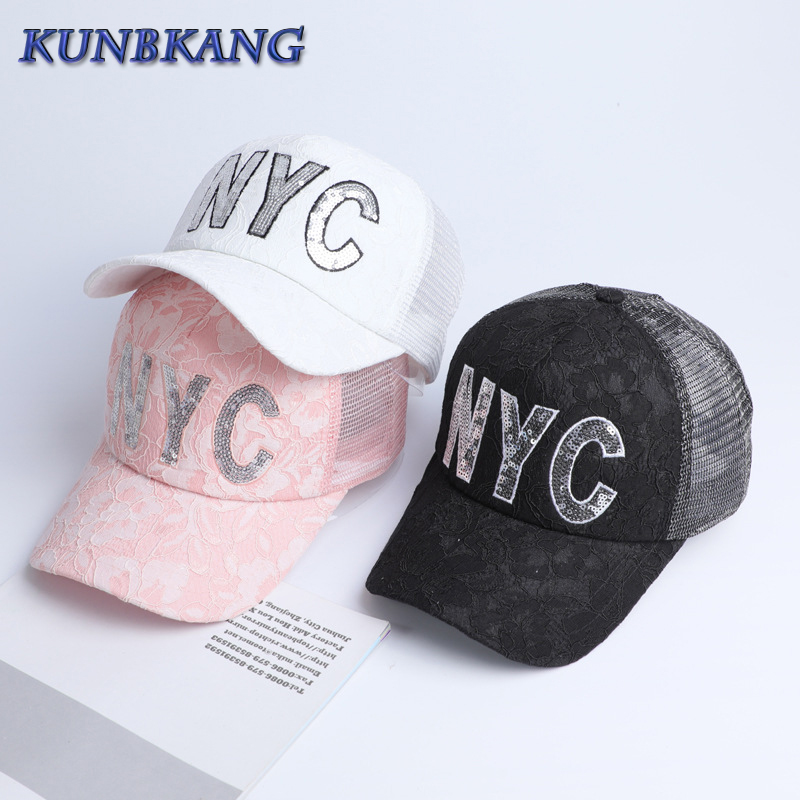 2017 Best Quality Lace Caps Women Mesh Hat Summer NYC Letter Baseball Cap  Black Pink Brand Bone Ladies Snapback Hats Casquette c0617ab237f