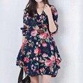 2016 Женская одежда Белье лето весна Цветочный Печати V-образным Вырезом Платья женщин С Длинным рукавом Свободные платья материнства плюс размер платье