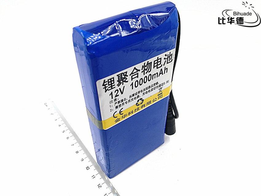 1 pcs/lot 12 V 10000 mah batterie au lithium Rechargeable DC batterie polymère batteria pour moniteur moteur lumière LED batterie de rechange extérieure