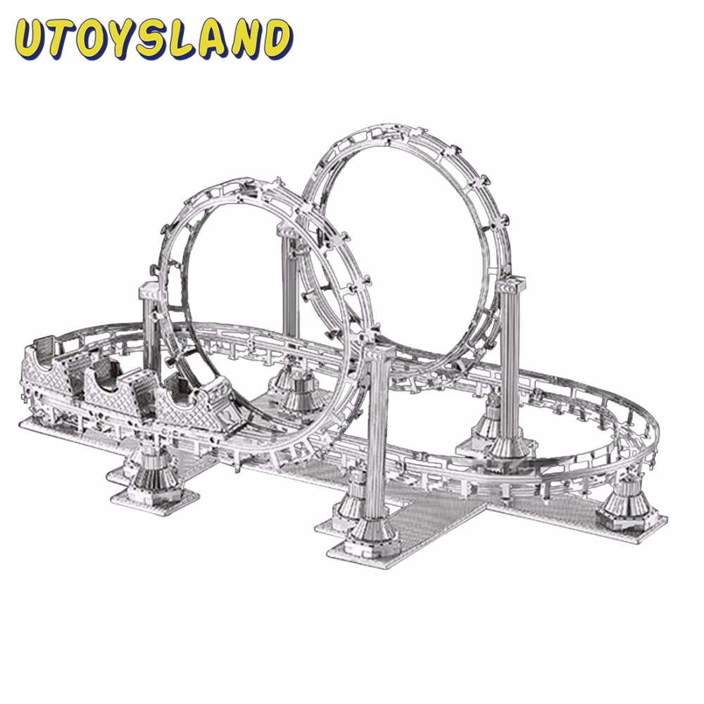 UTOYSLAND Roller Coaster Tank 3D Puzzle Metal Laser Cut Model Jigsaw DIY Gift Toys For Children Educational Decoration