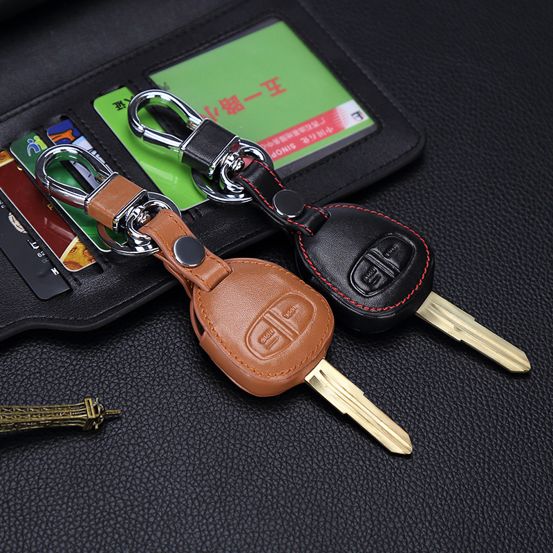 Image 3 - New design Genuine Leather cover wallet key remote case For Mitsubishi outlander ASX colt LANCER Grandis Pajero sport 2 buttons-in Key Case for Car from Automobiles & Motorcycles