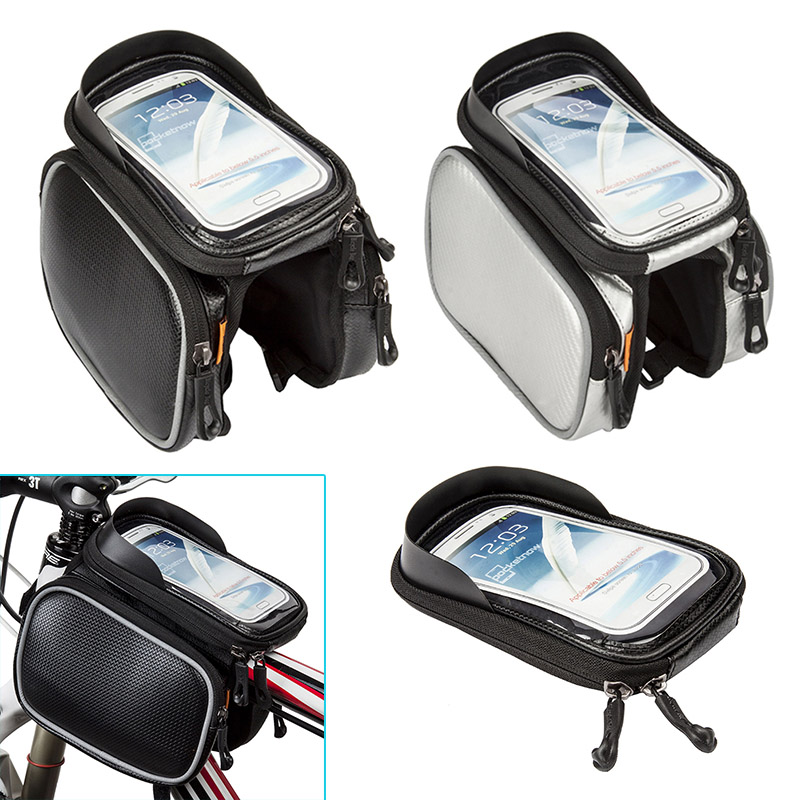 Bike Bicycle Frame Front Head Top Tube Bag Double <font><b>Pouch</b></font> Cycling Pannier For 4.2/ 5.8 /6 inch <font><b>Smartphone</b></font> 88 B2Cshop