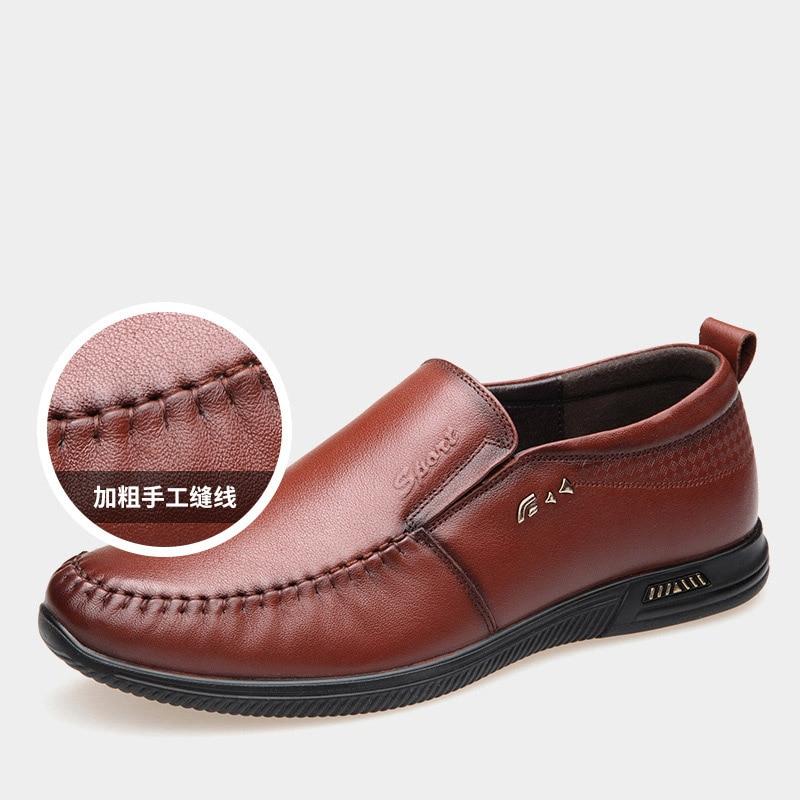 En Nouveaux Lumière Décontractée Résistant Chaussures black Père Doux Respirant Brown Hommes De L'usure 2019 À Confortable Et D'affaires Cuir 8dw1q87B