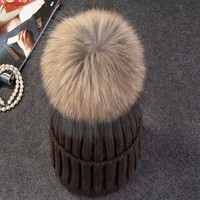Mink And Fox Fur Ball Cap Pom Poms Winter Hat For Women Girl S Wool Hat