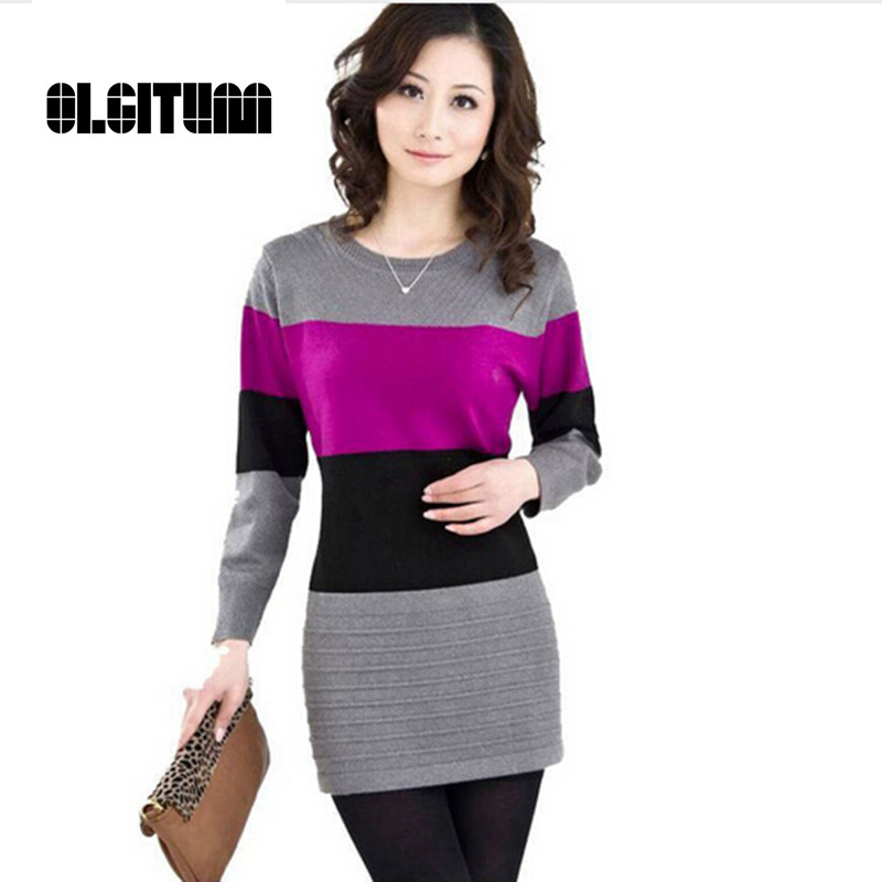 OLGITUM Long Pullovers Cashmere Sweater Women Winter Tops