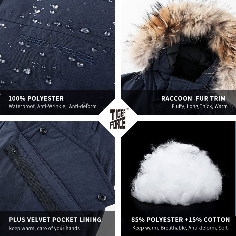 Image 5 - TIGER FORCE Alaska Winter Jacket for Men Parka Waterproof Thicken Coat  Jackets with Real Fur Hood Male Snowjacket Outwear-in Parkas from Men's Clothing