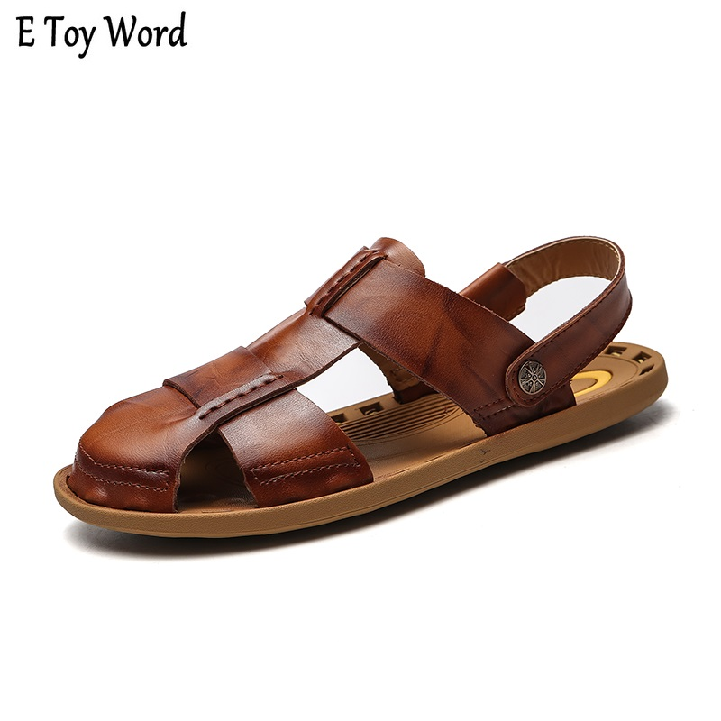 Hot 2018 Big Size Mens Sandals Summer British Fashion Man Genuine Leather Beach Shoes Men Massage Non-Slip Large Slippers Flats