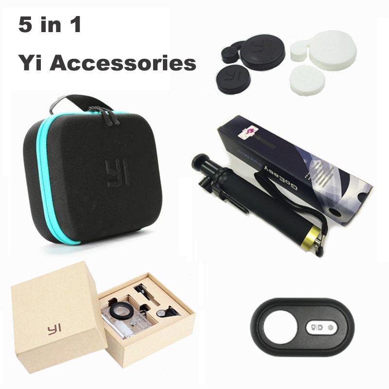 Xiaoyi Yi sports camera accessories 5in1 Set Selfie stick storage bag waterproof case remote control lens cover for xiaomi yi