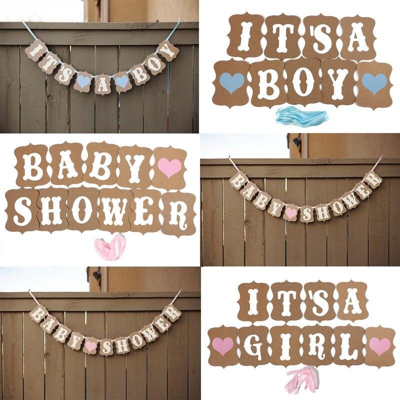 foto atrezzo chica chico baby shower banner bunting garland rstico chic party decoracin colgante decoracin del