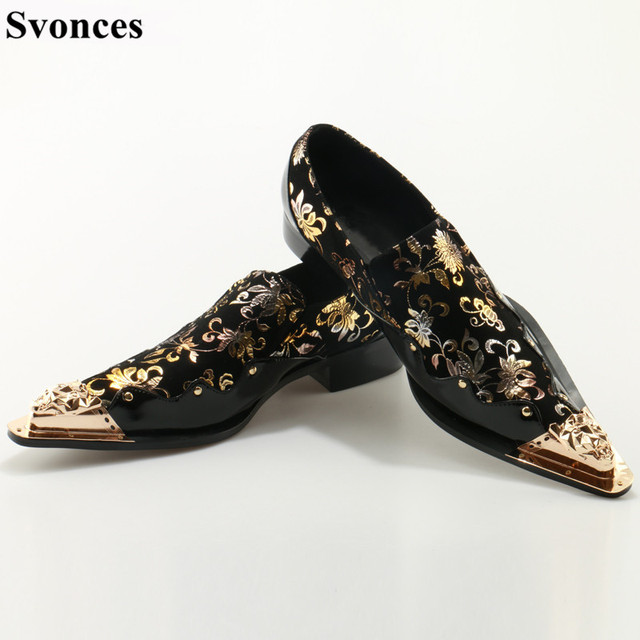 da19041a87b1 Svonces Metal Pointed Toe Mens Dress Shoes Genuine Leather Black Luxury  Wedding Shoes Floral Print Men Flats Office Formal Shoe