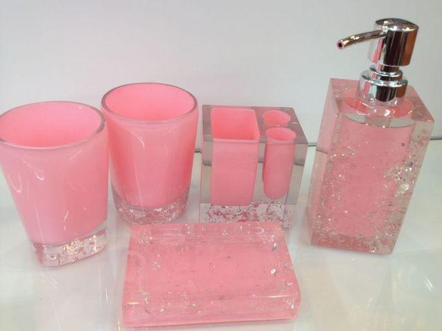 Badkamer Accessoires Roze : Fashion kwaliteit roze hars badkamer accessoires vijf stukken set