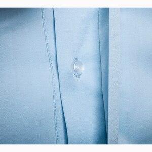 Image 4 - قميص رجالي غير رسمي بأكمام طويلة موضة صيف 2019 قميص رجالي ملابس ضيقة بنمط مطرز قميص قطني مقاس أوروبي