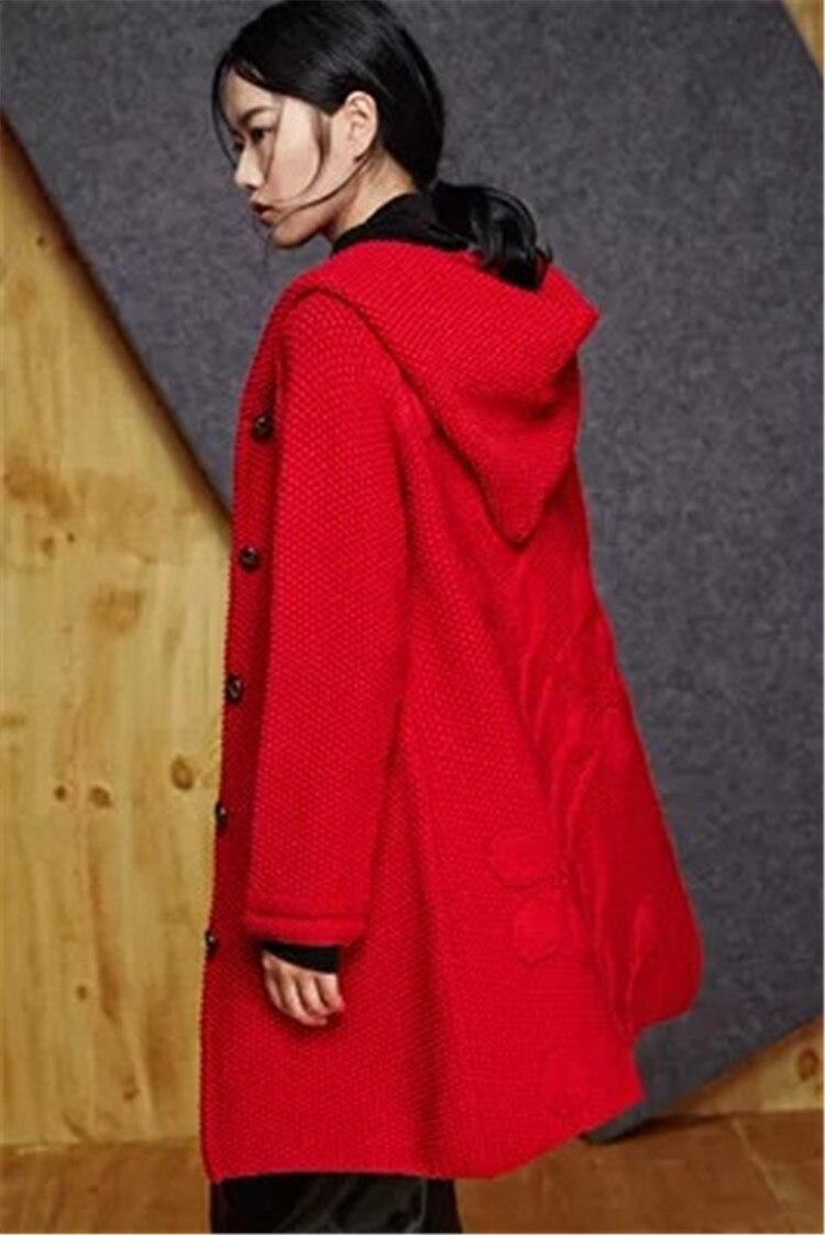 Capuchon Main Manteau Fait Tricot Mode Personnalisée De La Garde Cardigan 6 Femmes Rouge Couleur À Chandail Laine Haute Épais 100 5IqZPxSwq