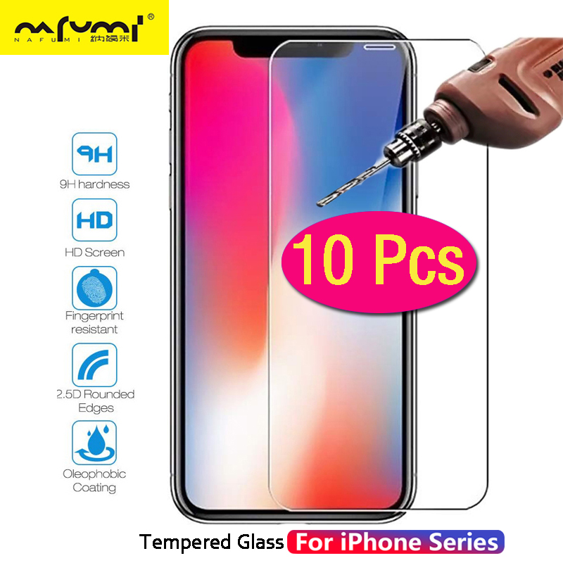 10Pcs Protective Glass For iPhone 6 6s 7 8 Plus X XS MAX XR Tempered Glass For iPhone4 4s 5 5s SE 5c Screen Protector Film in Phone Screen Protectors from Cellphones Telecommunications