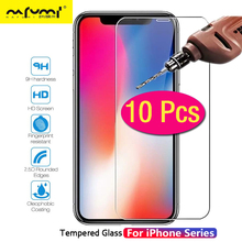 цена на 10Pcs Protective Glass For iPhone 6 6s 7 8 Plus X XS MAX XR Tempered Glass For iPhone4 4s 5 5s SE 5c Screen Protector Film