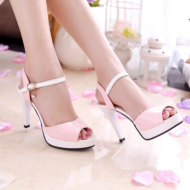 Princess sexy waterproof platform high heel shoes women pu leather spring and summer buckle strap high heels pee toe shoes
