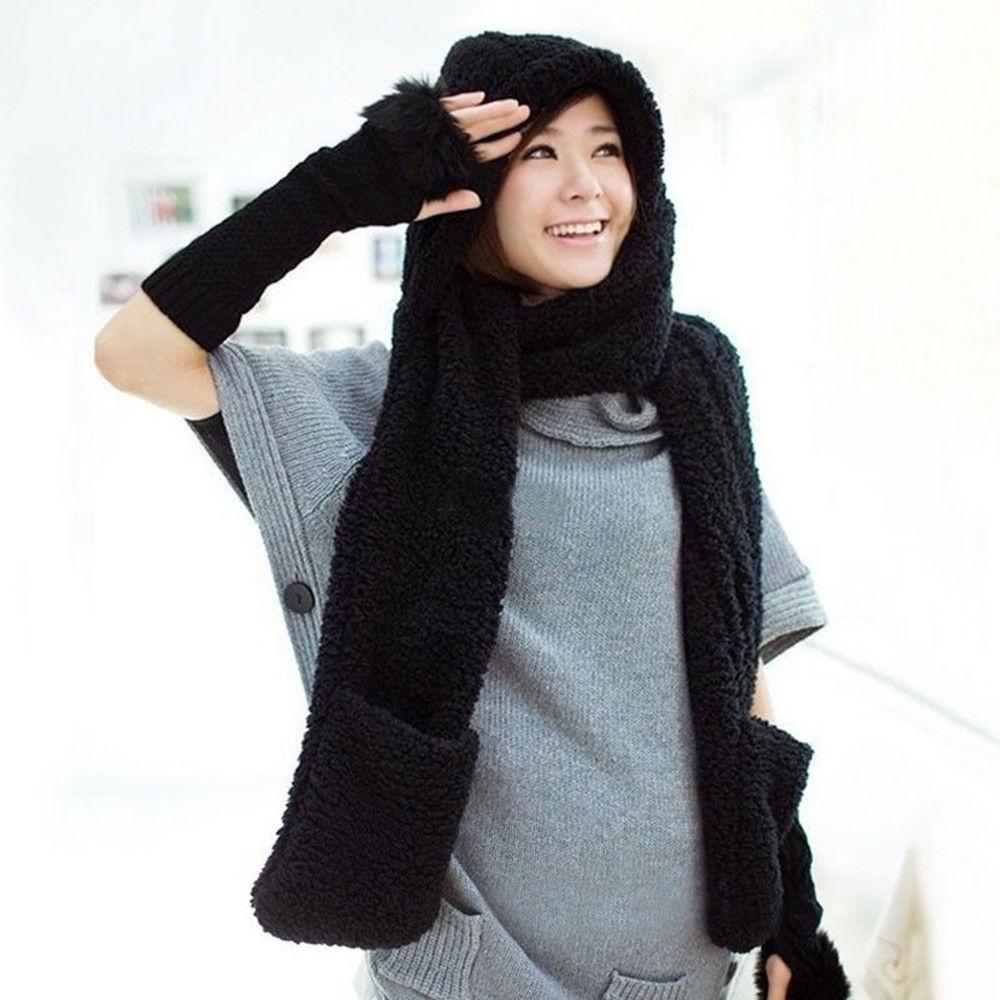 2017 Womens Winter Warm Faux Fleece Soft Fur Hooded Hood Scarf Hat Gloves New