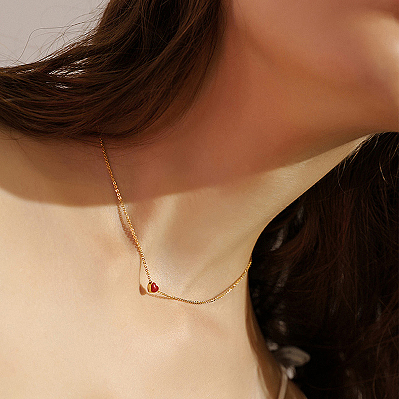 925 Sterling Silver Necklace Women Red Glaze Heart Pendant silver 925 chain necklaces & pendants wedding jewelry birthday gift