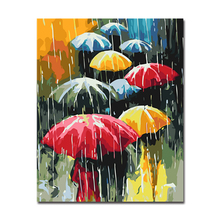 By Numbers Modular DIY Oil Digital Painting In Rain Colorful Umbrella Pictures On Canvas Wall Abstract Paints Home Decor Framed