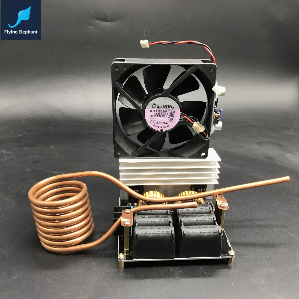 ZVS Low Voltage Dedicated Induction Heating Machine High Frequency Large Heat Sink Board + Copper Tube + Cooling Fan dc12 36v 20a 1000w zvs induction heating module heater with cooling fan copper tube