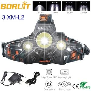 BORUIT 8000LM XM-L2 L2 3 x CREE LED 18650 Modos Lanterna Farol Farol Lanterna 4 Rechargeab Cabeça Da Tocha Da Lâmpada + UM Carregador/USB