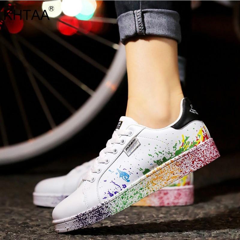 2019 Autumn Women Flat Sneakers Lace-up Colorful Graffiti Platform Female PU Flats Fashion Ladies Walking Vulcanized Shoes New