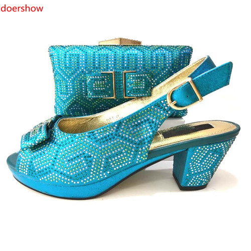 doershow Italian Shoes with Matching Bags 2018 African skyblue Shoe and Bag Set Italian Design African Shoes and Bag Set!MS1-15