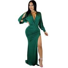 81e725a7d0507 (Gemi US) Yeşil Düzensiz Maxi Elbise Kadınlar Seksi Derin V Yaka Yüksek  Bölünmüş Rahat Uzun Bölünmüş Kollu Zarif Gece Parti Kadın Elbise v.