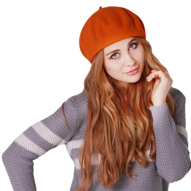 Otoño Invierno de las mujeres sombrero boinas suave clásico caliente Boina  Feminina Felt francés artista gorros 766b747e966