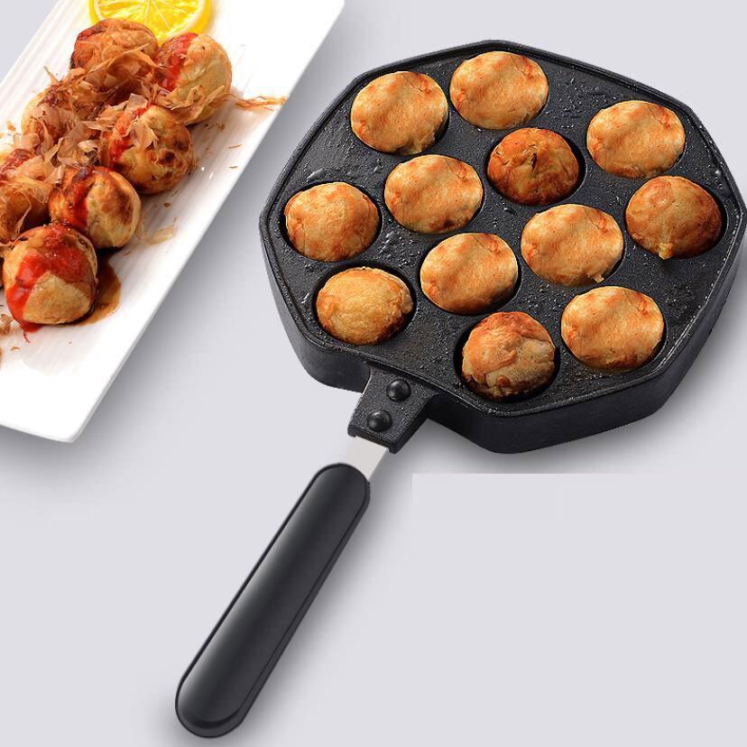 12 Holes Aluminum Alloy Takoyaki Pan Takoyaki Maker 18 Holes Chibi Maruko Machine Baking Forms Mold Pan Octopus Baking Machine