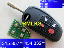 RMLKS Replacement Remote Key Fob 4 Button 315 MHz 433MHz 4D ID60 Chip Fit For Jaguar X type S type XJ Uncut FO21 Blade